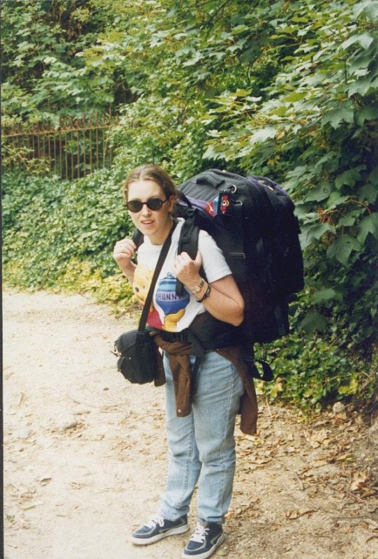Amanda with backpack