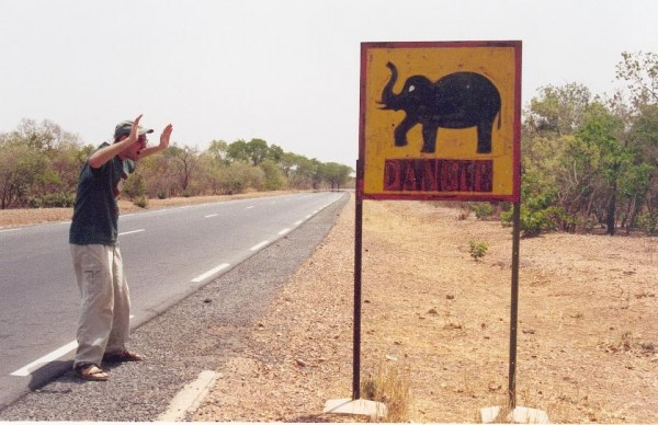 Michael and elephant sign